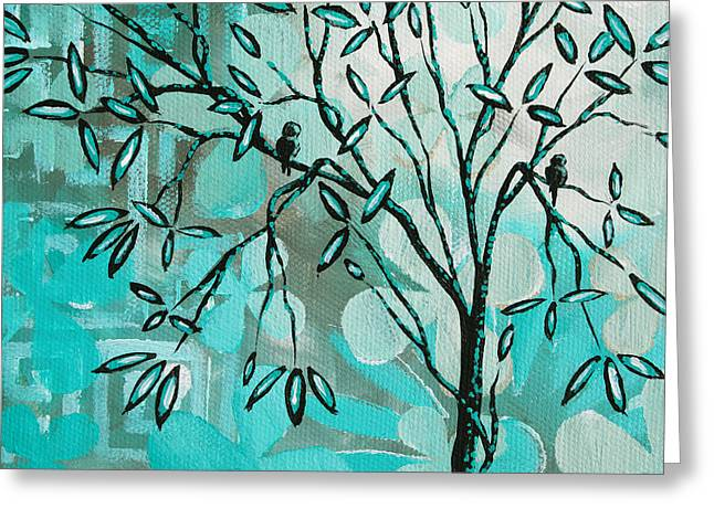 Decorative Abstract Floral Birds Landscape Painting Bird Haven I By Megan Duncanson Greeting Card by Megan Duncanson