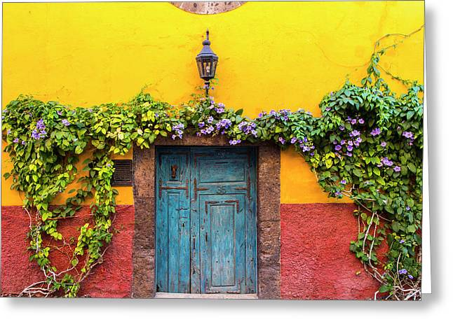 Decorative Door Display On The Streets Greeting Card