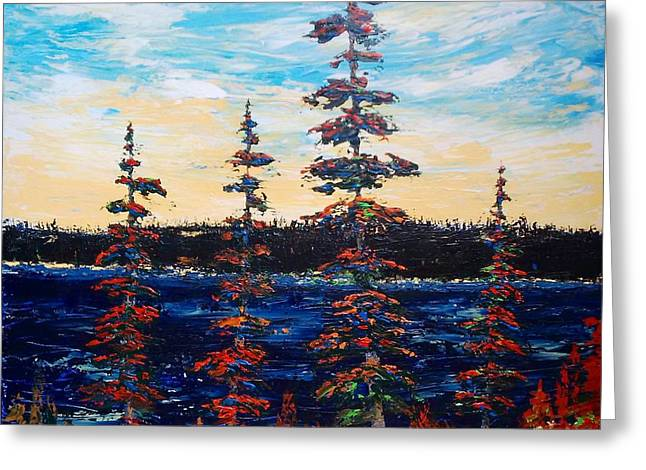 Decorative Pines Lakeside - Early Dusk Greeting Card