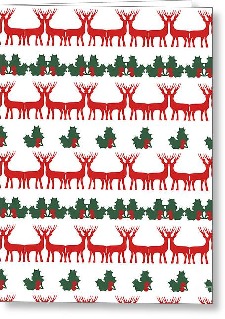 Decorative Reindeer Vector Pattern Greeting Card