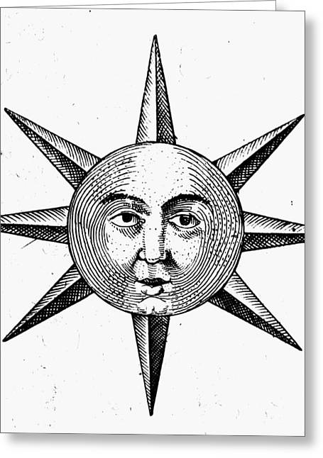 Decorative Sun Face Greeting Card by Granger