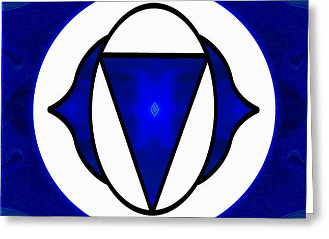Deep Blue Awareness Abstract Chakra Art By Omaste Witkowski Greeting Card by Omaste Witkowski