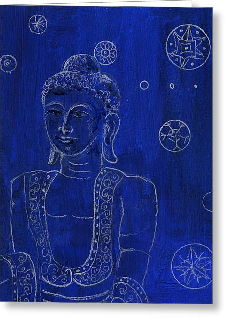 Deep Blue Buddha Greeting Card