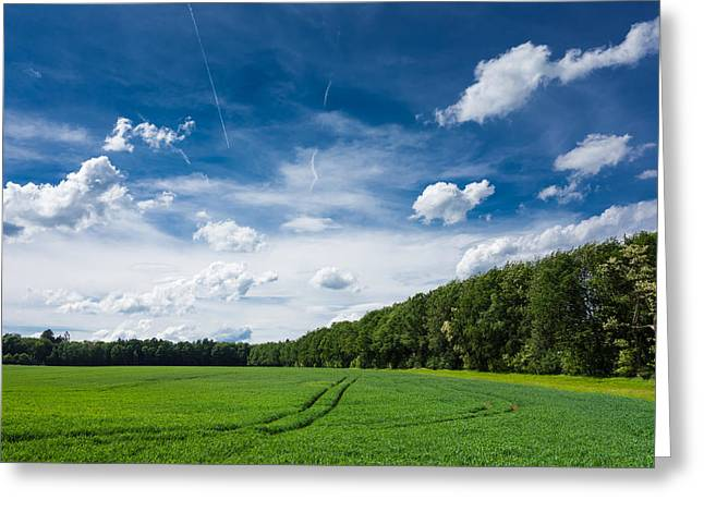 Deep Blue Fresh Green And White Clouds - Lovely Summer Landscape Greeting Card