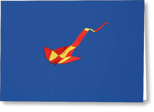 Deep Blue Sky And Kite Greeting Card by Phoenix De Vries