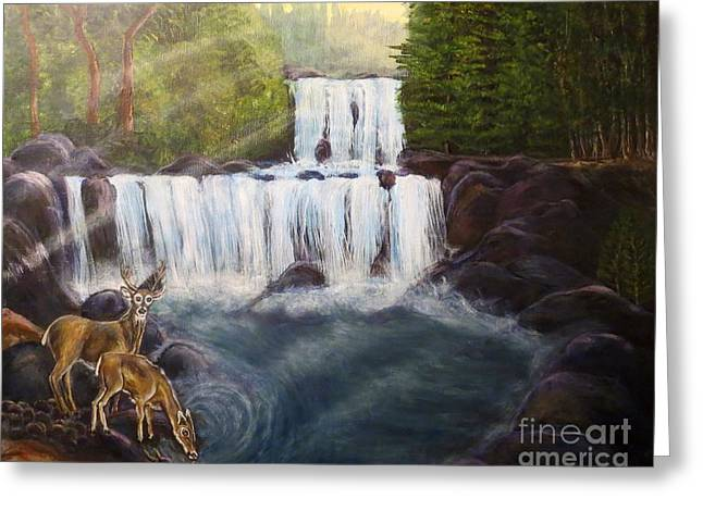 A Tall Drink Of Water For A Pair Of White Tailed Deer In The Great Smoky Mountains Greeting Card by Kimberlee Baxter