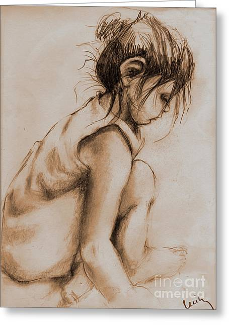 Deep In Thought Greeting Card by Cecily Mitchell