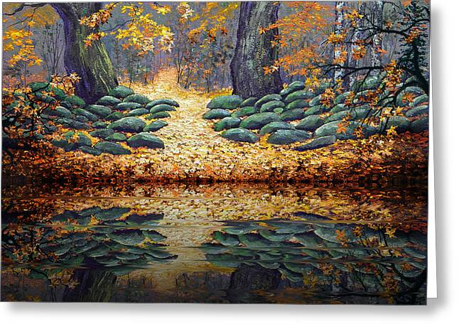 Deep Pond Reflections Greeting Card