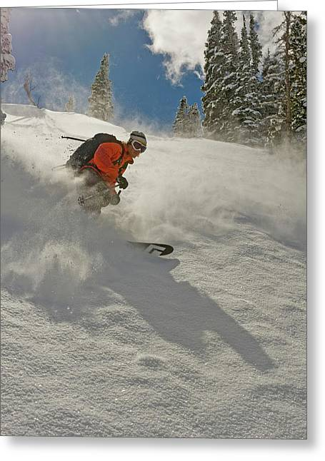 Deep Powder In The Wasatch Backcountry Greeting Card