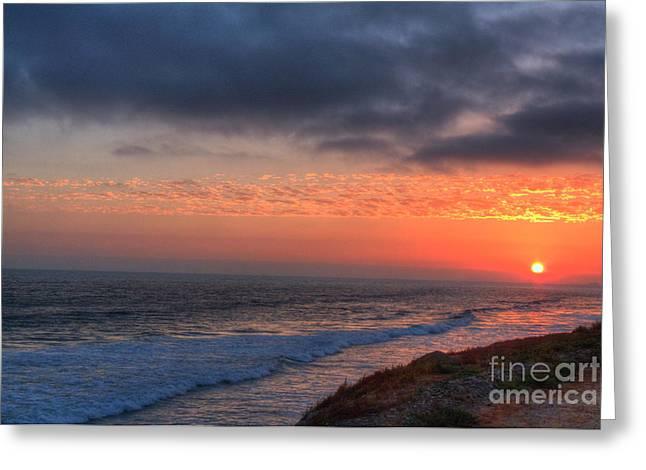 Deep Red Sunset Greeting Card by Deborah Smolinske