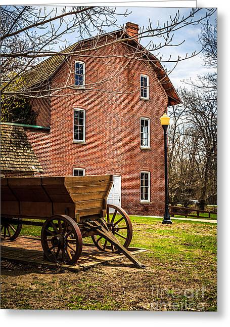 Deep River Wood's Grist Mill And Wagon Greeting Card
