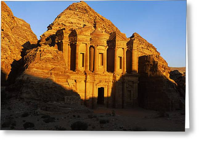 Deep Shadows At The Monastery, Al Deir Greeting Card by Panoramic Images