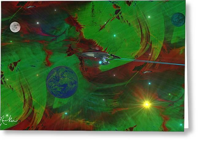 Deep Space / Star Trek Greeting Card by Michael Rucker