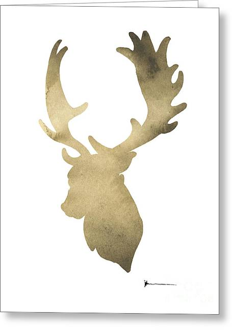 Deer Antlers Original Watercolor Art Print Greeting Card by Joanna Szmerdt