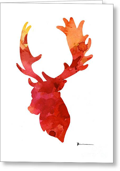 Deer Antlers Silhouette Art Print Watercolor Painting Greeting Card by Joanna Szmerdt