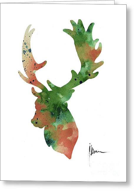 Deer Antlers Silhouette Watercolor Art Print Painting Greeting Card by Joanna Szmerdt