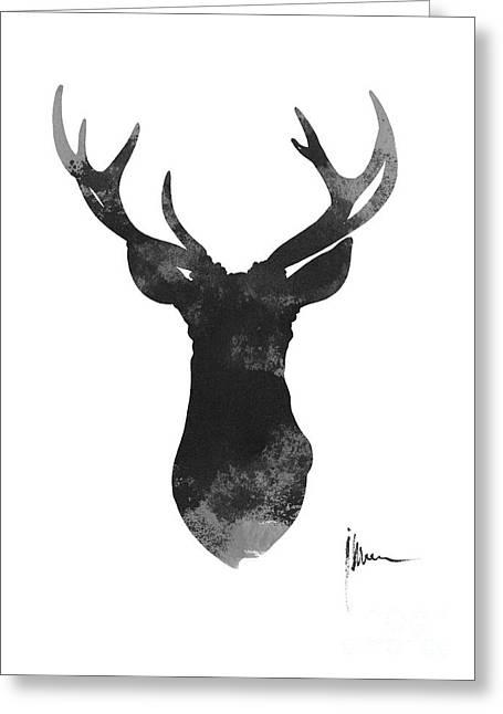 Deer Antlers Watercolor Painting Art Print Greeting Card