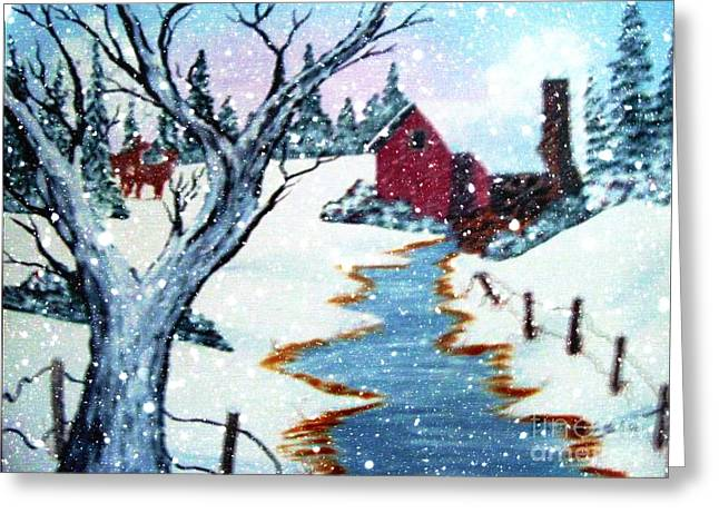 Deer At The Grist Mill Greeting Card by Barbara Griffin
