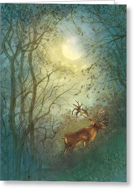 Deer Greeting Card by Cher Jiang