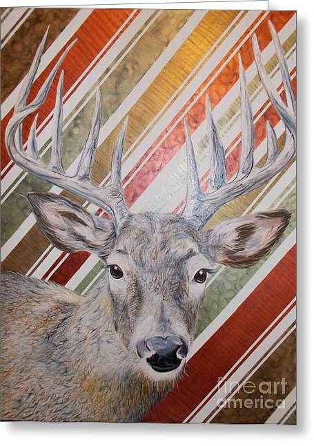 Greeting Card featuring the painting Deer Deco by PainterArtist FINs husband