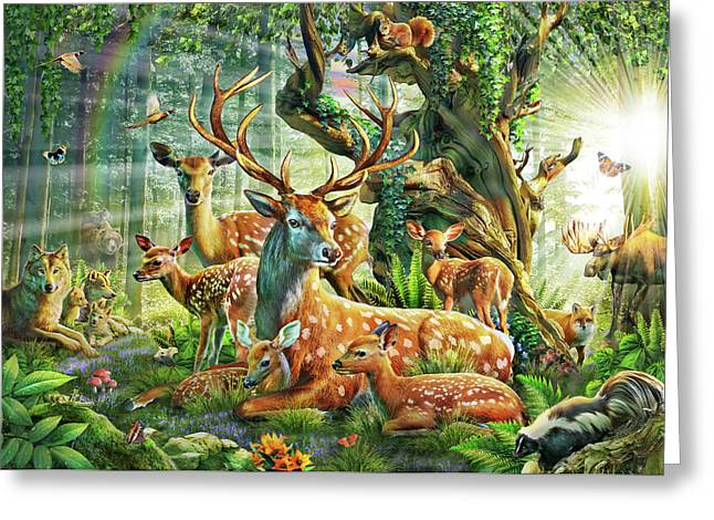 Greeting Card featuring the drawing Deer Family In The Forest by Adrian Chesterman