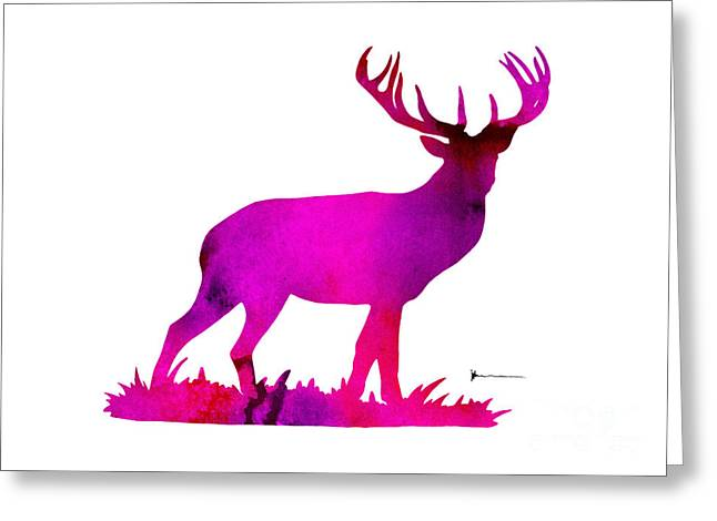 Deer Figurine Silhouette Poster Watercolor Art Print Greeting Card by Joanna Szmerdt