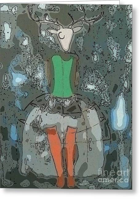 Deer Girl Greeting Card by Amy Sorrell