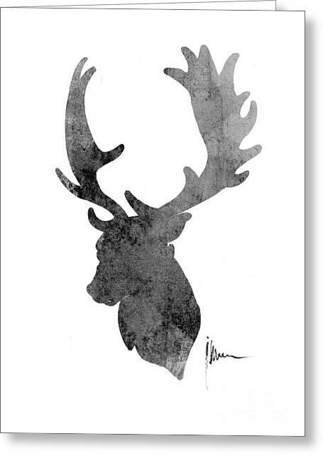 Deer Head Art Print Watercolor Painting Greeting Card