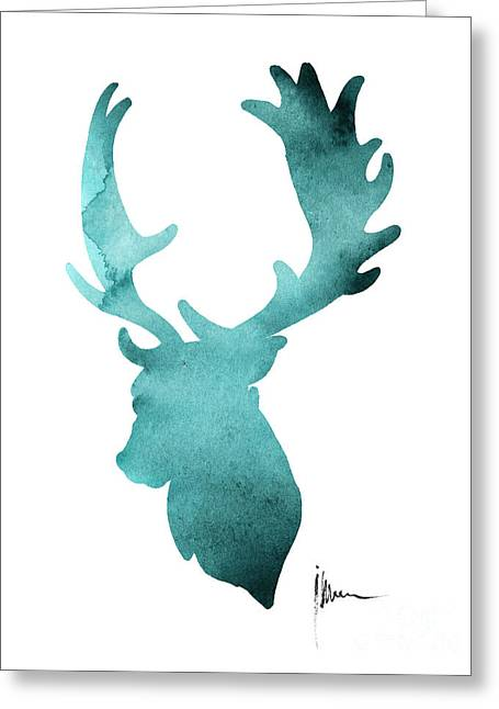 Deer Head Silhouette Painting Watercolor Art Print Greeting Card by Joanna Szmerdt