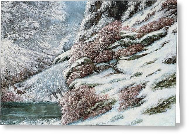 Deer In A Snowy Landscape Greeting Card by Gustave Courbet