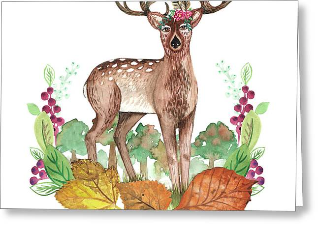 Deer In The Trees With Leafy Wreath Placement.jpg Greeting Card