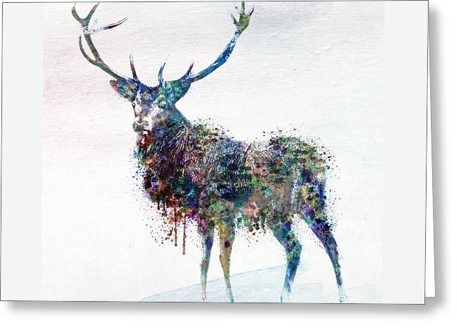 Deer In Watercolor Greeting Card by Marian Voicu