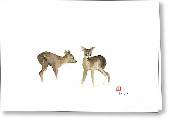 Deer Nature Brown Colors Earth Animal Animals Pet Pets Forest Wild Watercolor Painting Greeting Card