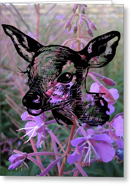Deer On Flower Greeting Card