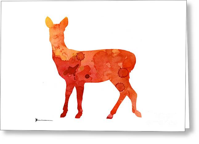 Deer Portrait Artprint Watercolor Painting Greeting Card by Joanna Szmerdt
