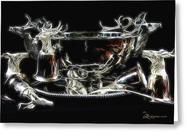 Deer Punch Bowl Set Greeting Card by EricaMaxine  Price
