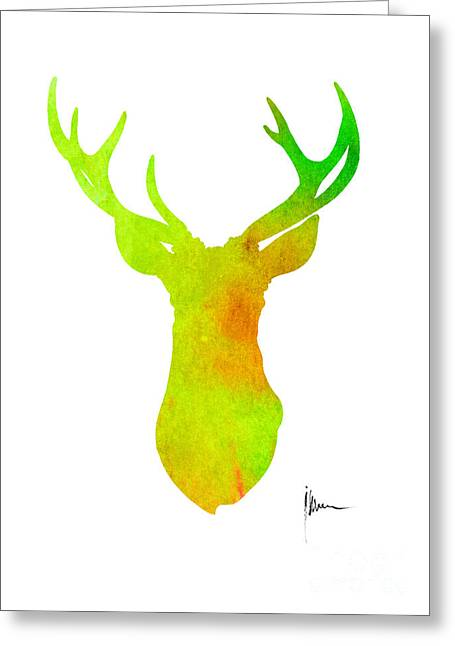 Deer Silhouette Art Print Painting Antlers Home Decor Greeting Card by Joanna Szmerdt