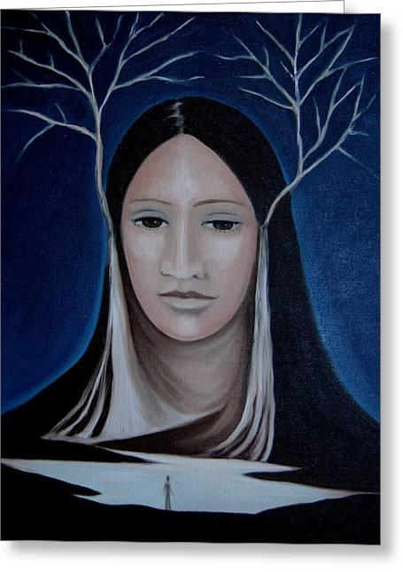 Greeting Card featuring the painting Deer Woman  by Tone Aanderaa