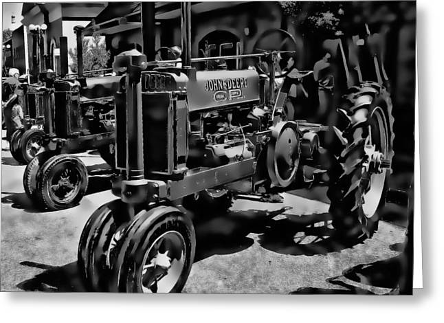 Deere Tractor Art Bw Greeting Card by Lesa Fine
