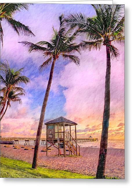 Deerfield Beach Watercolor Greeting Card by Debra and Dave Vanderlaan