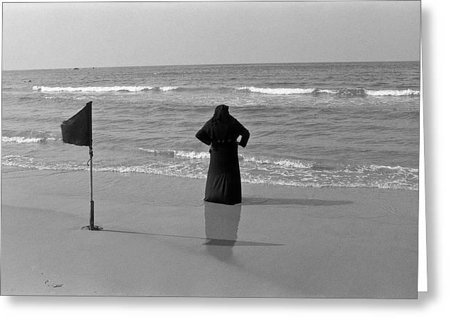 Arab Woman At The Tel Aviv Beach/black And Blue Greeting Card by Kobi Amiel