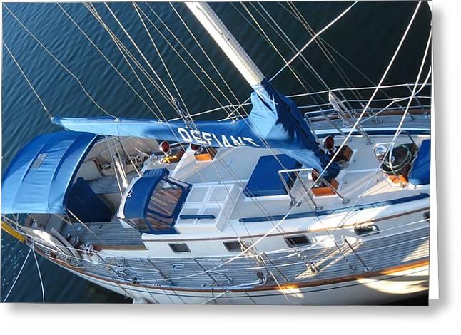 Defiant Sailboat Blues Greeting Card