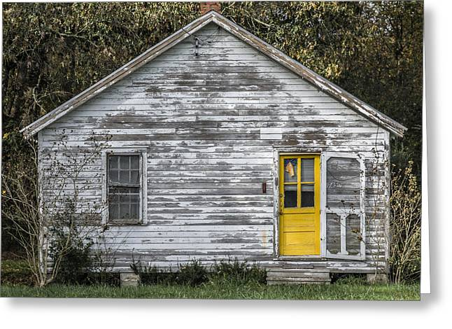 Defiant Yellow Door - Square Greeting Card by Terry Rowe