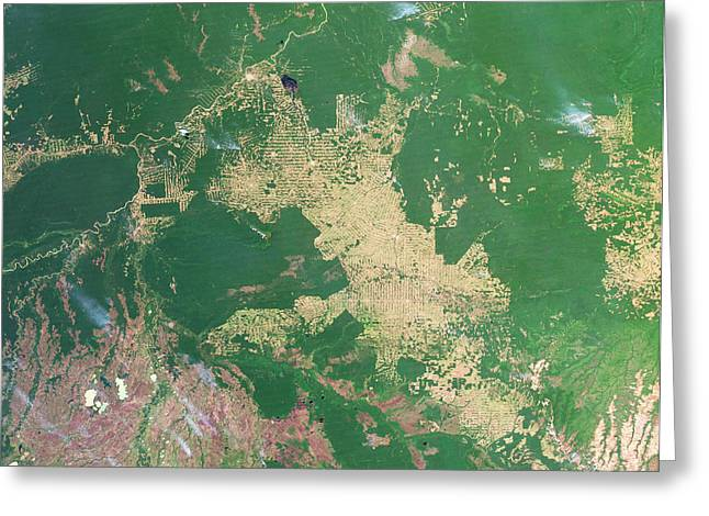 Deforestation In The Amazon Greeting Card by Nasa Earth Observatoryscience Photo Library