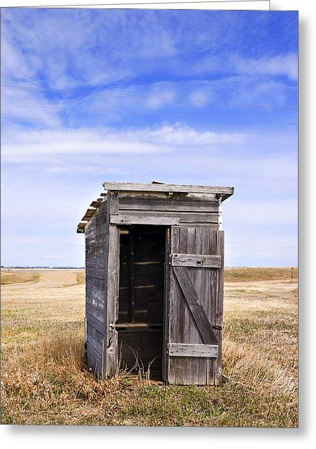 Defunct Outhouse At Rural Elementary School Greeting Card