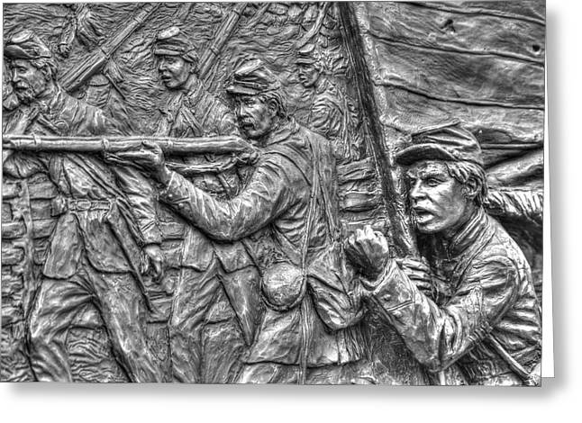 Defy The Enemy.  State Of Delaware Monument Detail-c Gettysburg Autumn Mid-day. Greeting Card by Michael Mazaika