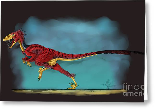 Deinonychus, A Genus Of Carnivorous Greeting Card by Stocktrek Images