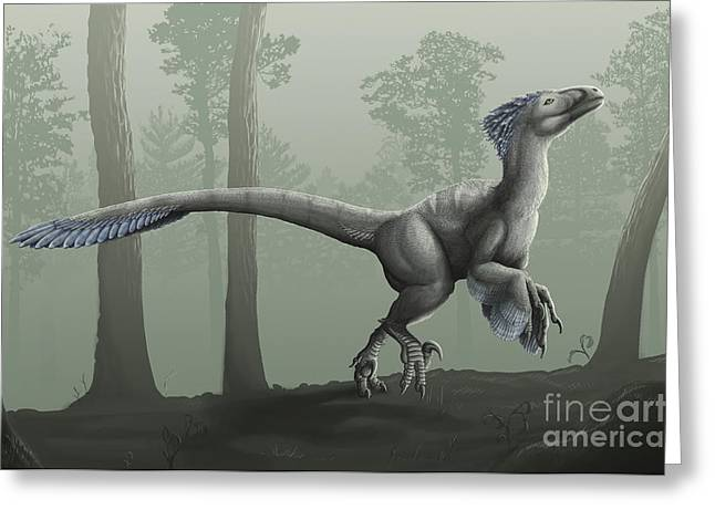 Deinonychus Antirrhopus In A Misty Greeting Card by Emily Willoughby