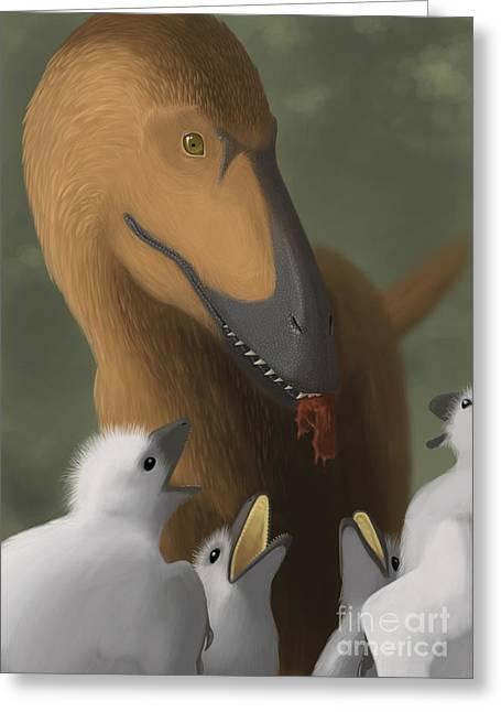 Deinonychus Dinosaur Feeding Its Young Greeting Card by Michele Dessi