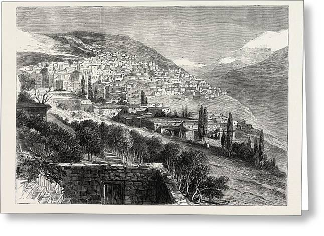 Deir-el-kamr, On The Southern Side Of Mount Lebanon Greeting Card by Lebanese School